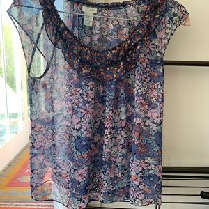 ODILLE (Anthro) Silk floral Blouse - size 2